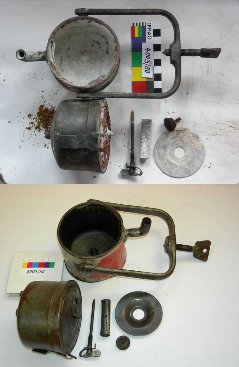 Karbidová lampa, přírůstkové číslo 4003/80  České muzeum stříbra Kutná Hora